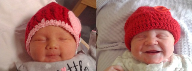 Babies in knit hats