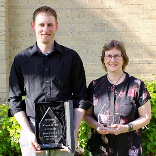 Dr. Ty Award Winner Kevin Wray, RT and and Runner Up Carolyn Kopatz, RT